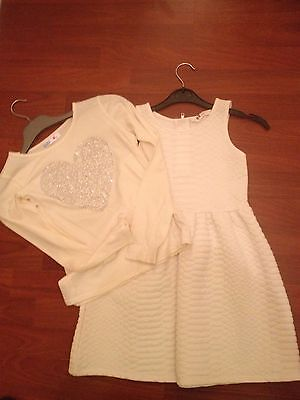 Girls CREME Top. /dress. From H/M 8/9Yrs. ������from M and Co. . L��k.