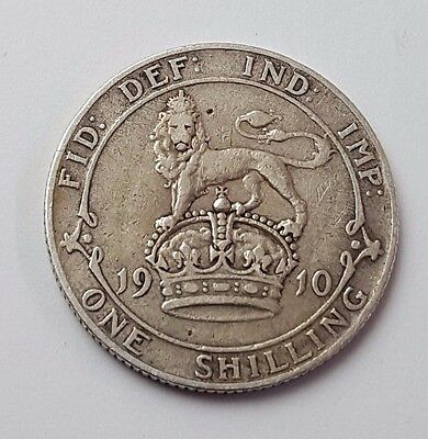 1910 - Silver - One Shilling - Great Britain - King Edward VII- English UK Coin