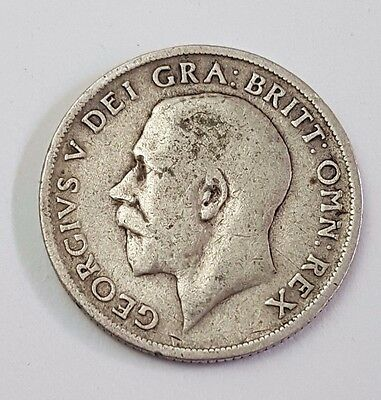 1917 - Silver - One Shilling - Great Britain - King George V - English UK Coin