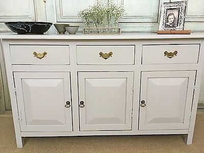 Large Vintage Painted Oak Dresser Base, Sideboard, Neutral, Undistressed