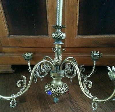 Vintage French Louis Xv Brass Or Bronze Metal Gold Gild  Chandelier  Stunning