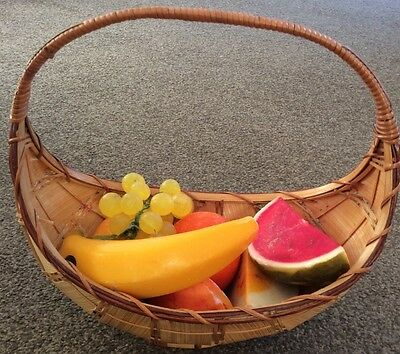 ARTIFICIAL FRUIT Hand Made Waxy Plastic With Oval Wicker Basket - Good Condition