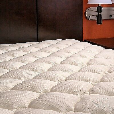 Extra Plush Quilted Bamboo Mattress Topper Pad -- Revoloft Filled Queen White