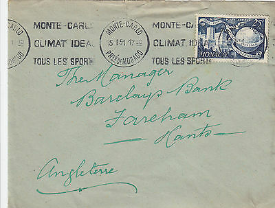 K 1461 Monaco 1951 cover to Uk, using solo UPU 25f stamp.