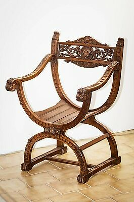 Antique French Gothic KING DAGOBERT Medieval Wood Lions carved Chair FREE SHIP