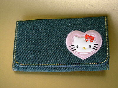 HELLO KITTY Denim Wallet with card compartment zip bag purse