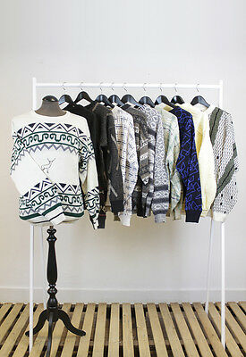 Job Lot Of 10 Mens Vintage Cosby Style Jumpers. #mk-003