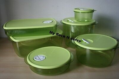 Tupperware Rock N Serve Microwave Container Set 6  New