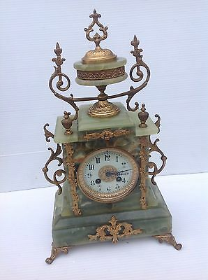 French mantle 19th century clock mantel antique onyx brass bronze Collectable