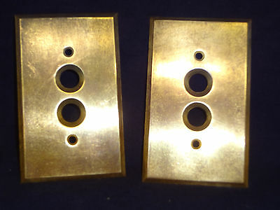 TWO Antique Vintage Heavy Brass Push Button Switch Plate Cover NICE