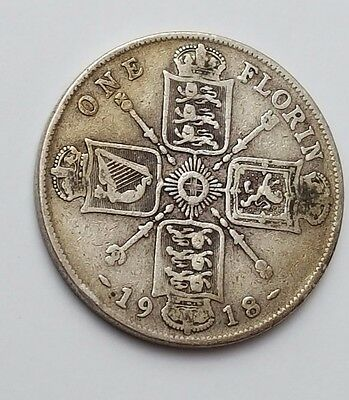 1918 - Silver - Two Shillings / Florin - Great Britain - King George V - UK Coin