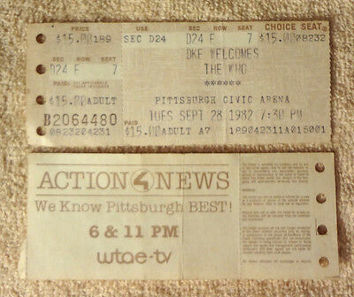 TWO    1982 THE WHO Farewell Concert Tour Ticket Stub PITTSBURGH Civic Arena