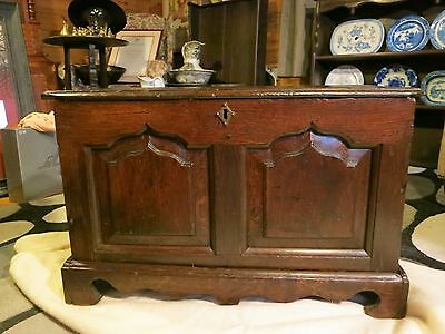 Antique Rare Welsh Solid Oak Coffer Bach