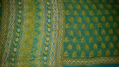 New Blue Green Teal Floral Leaf Pattern Soft Georgette Casual Party Saree Sari