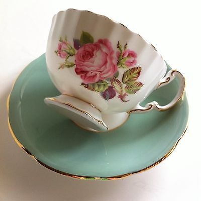 Vintage Aynsley Pink Cabbage Roses Tea Cup & Saucer