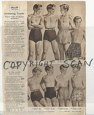 1946 LITTLE & Big BOYS Swimwear Bathing Suits Welcome to BOYVILLE! Vintage Ad