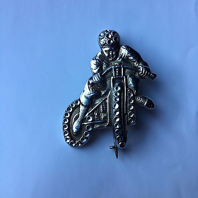 vintage fab 50s speedway motorcycle rider shape pin badge chads period liverpool