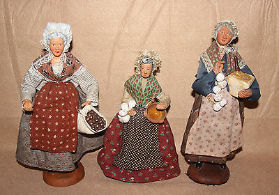 "3 Vintage French Santon Terracotta Old Women A Cooking Dolls 2 12"" & 1 9 1/2"""