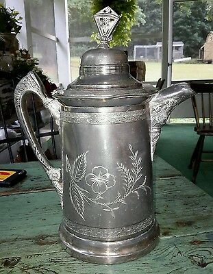 Huge Victorian Silver Plate Water Pitcher With Flowers