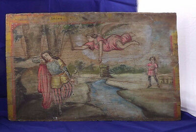 Antique 1890 French Gothic Romantic Medieval Wood shop sign handpainted icon