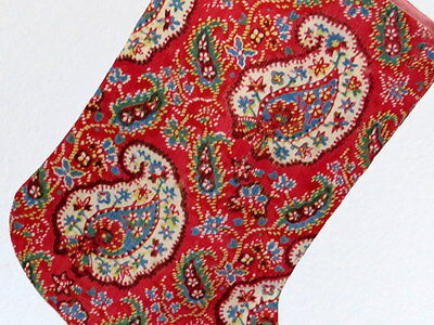 Antique Christmas Stocking French Block Printed Early19thC French Floral Paisley