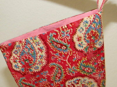 Christmas Stocking French Block Printed Paisley 19thC Small Red Stocking