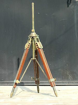 Antique-Rustic-Wooden Tripod-Floor-Lamp Stand-Fully-Brass-Retro-Shade-Fixture