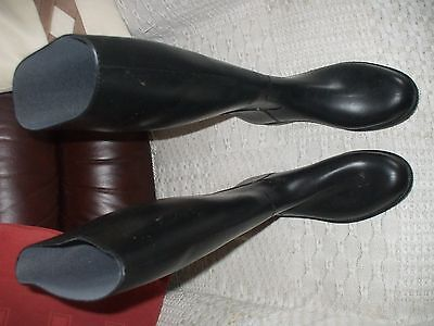 Long Black Rubber Riding Boots By Fouganza Size 6Uk
