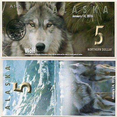 Alaska 5 Northern dollars 2016 UNC Wolf Private Issue