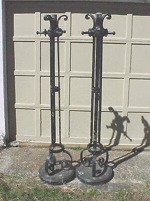 Great Pair Antique Cast Iron Lamp Posts Bases / Shippers / Trucker Listed Below