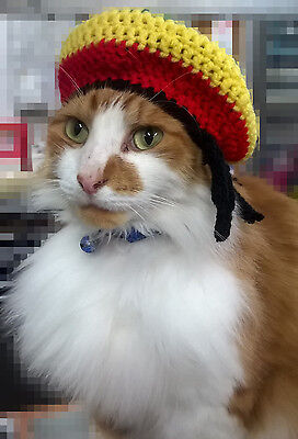Reggae Rasta Hat for a Cat/Small Dog/Pet with Dreadlocks Xmas Stocking Filler