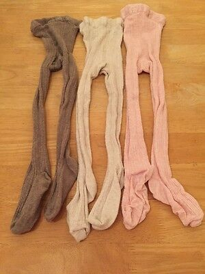Girls Tights 3 Pairs Cable Knit Age 3-4 Years EUC