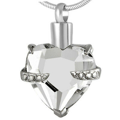 Cremation Jewellery for Ashes, Memorial Pendant urn White Crystal Heart Necklace