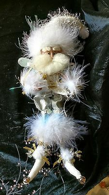 """MARK ROBERTS Collection 13"""" White Turquoise Feathers Fairy Santa Elf Ornament"""