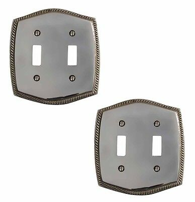 2 Switchplate Chrome 5 1/4 H Braided Double Toggle | Renovators Supply