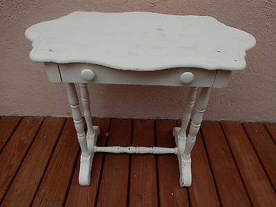 Antique Side Table Shabby Chic White Painted  Wood Stand Side Table