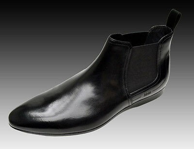 NEW HUGO BOSS Black Leather Dress Shoes Ankle Boots Booties Chaussures 9 42