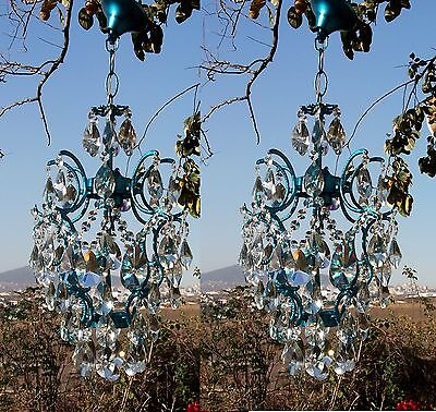 Ceiling Pendant Light French Antique Vntage Round Pair Crystal Chandelier Lamp