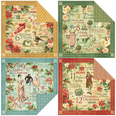 Graphic 45 Twelve Days of Christmas Collection Scrapbook Paper 12x12