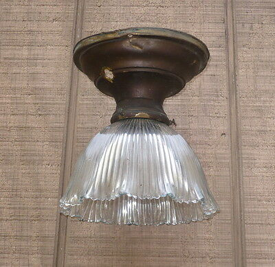 Victorian Brass Ceiling Light Fixture With Fluted Glass Shade