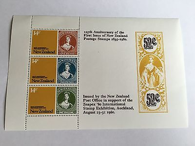 New Zealand Minisheet Mnh 1980 First Stamps 125Th Anniv Zeapex Stamp Exhibition