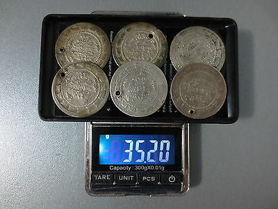 LOT of 6pcs LARGE SILVER OTTOMAN TURKISH TURKEY ISLAMIC COINS VERY RARE 35.2gram