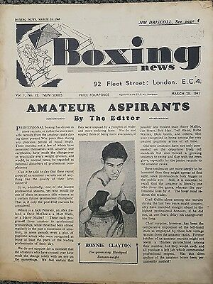 Boxing News March 28 1945 featuring Jim Driscoll