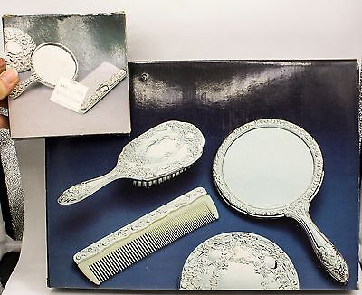 5pc Antique Vtg Silver Plate Repousse Dresser Vanity Set Purse Mirror Brush Comb