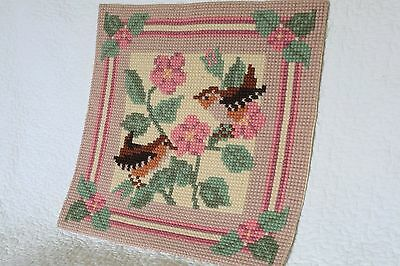 Vintage Tapestry Completed Panel Pink With Birds Robins Sparrows And Flowers