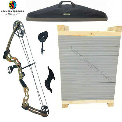 ASD Pro Series - Camo Adult Compound Archery Bow Package W/ Target & Case & More