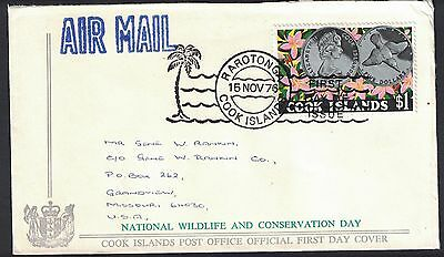 Cook Islands 1976 $1.00 Wildlife Conservation On Fdc To Missouri , Usa  - B - 94