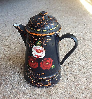 Vintage hand painted barge canal wear coffee pot