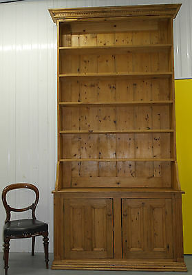 Huge 9.55 Feet Tall Antique Pine Bookcase With Sideboard Base Can Be Split In 2
