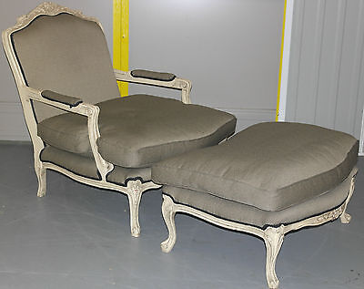 Stunning French Antique Style Armchair & Matching Ottoman Lovely Styling